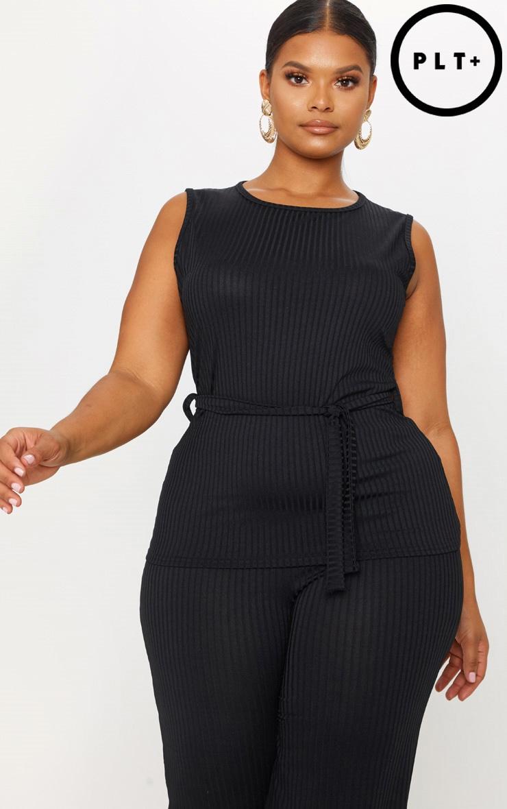 Plus Black Rib Tie Waist Vest Top