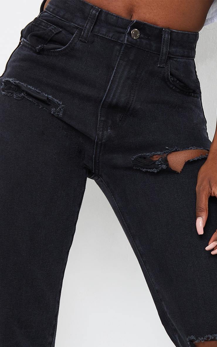 Tall Black Ripped Split Hem Jeans 4