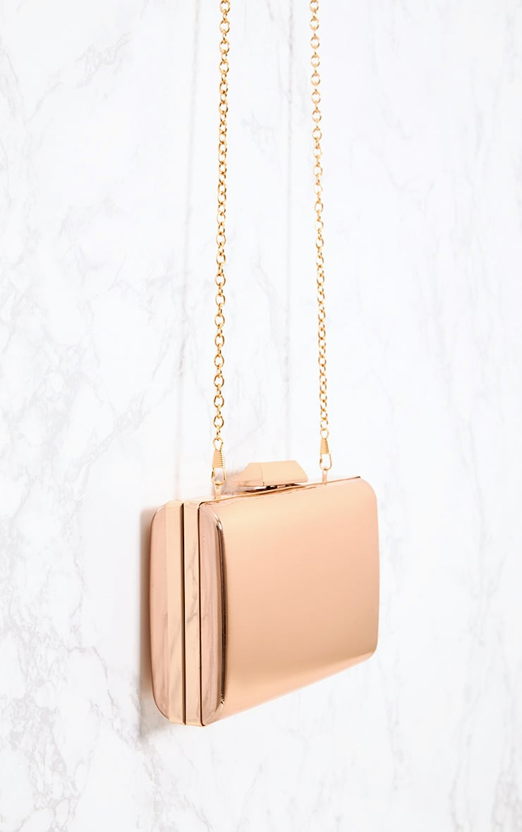 Rose Gold Metallic Clutch 4