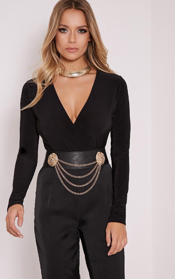 Sadie Black Slinky Wrap Bodysuit 3