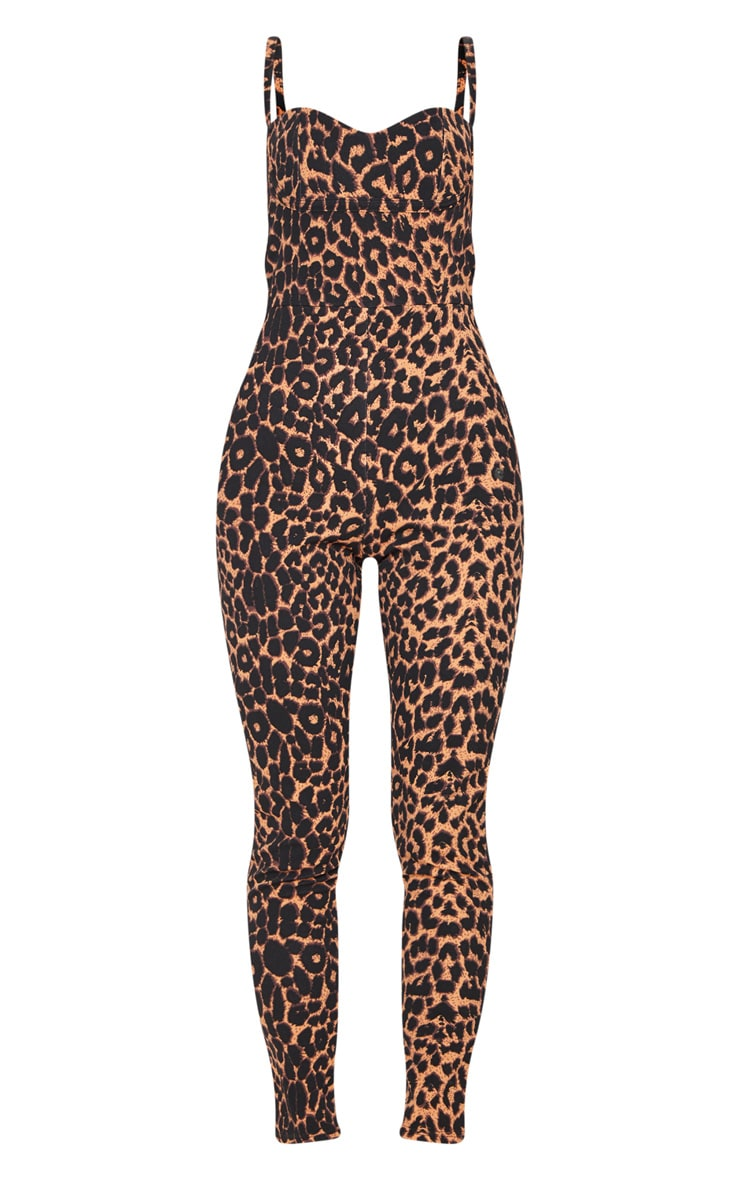 Tan Leopard Print Strappy Cup Detail Jumpsuit 3