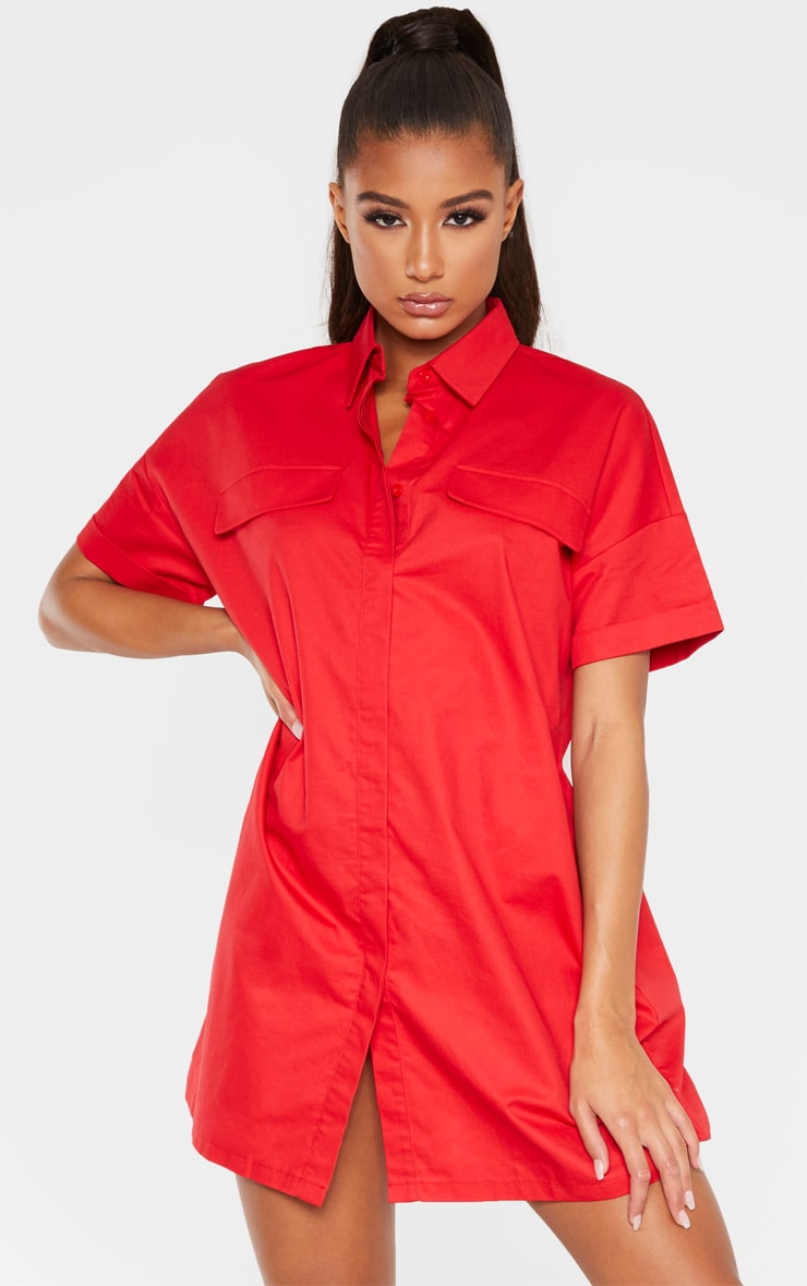 Red Oversized Utility Shirt Dress 1