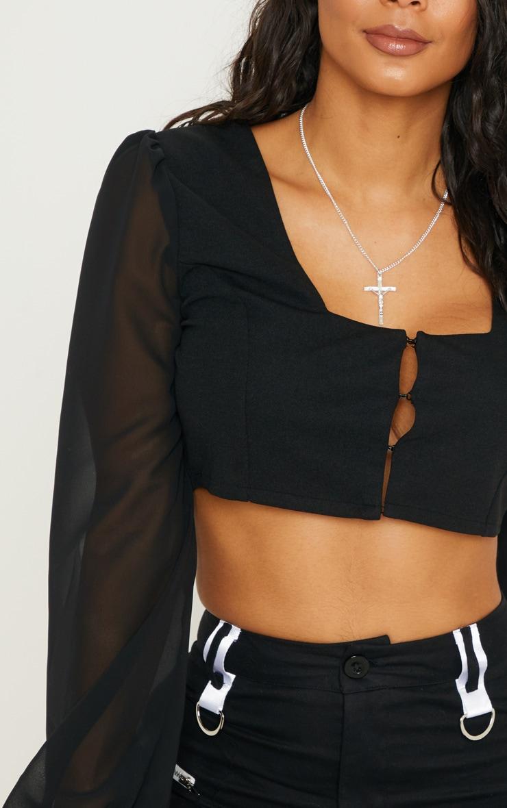 Black Sheer Sleeve Corset Top 5