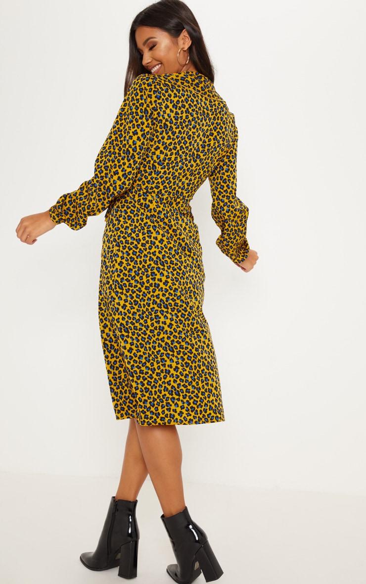 Mustard Leopard Wrap Midi Dress 2