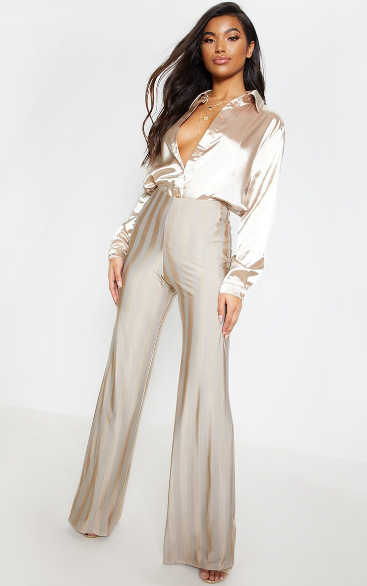 Stone Disco Stripe Casual Wide Leg Trouser 1