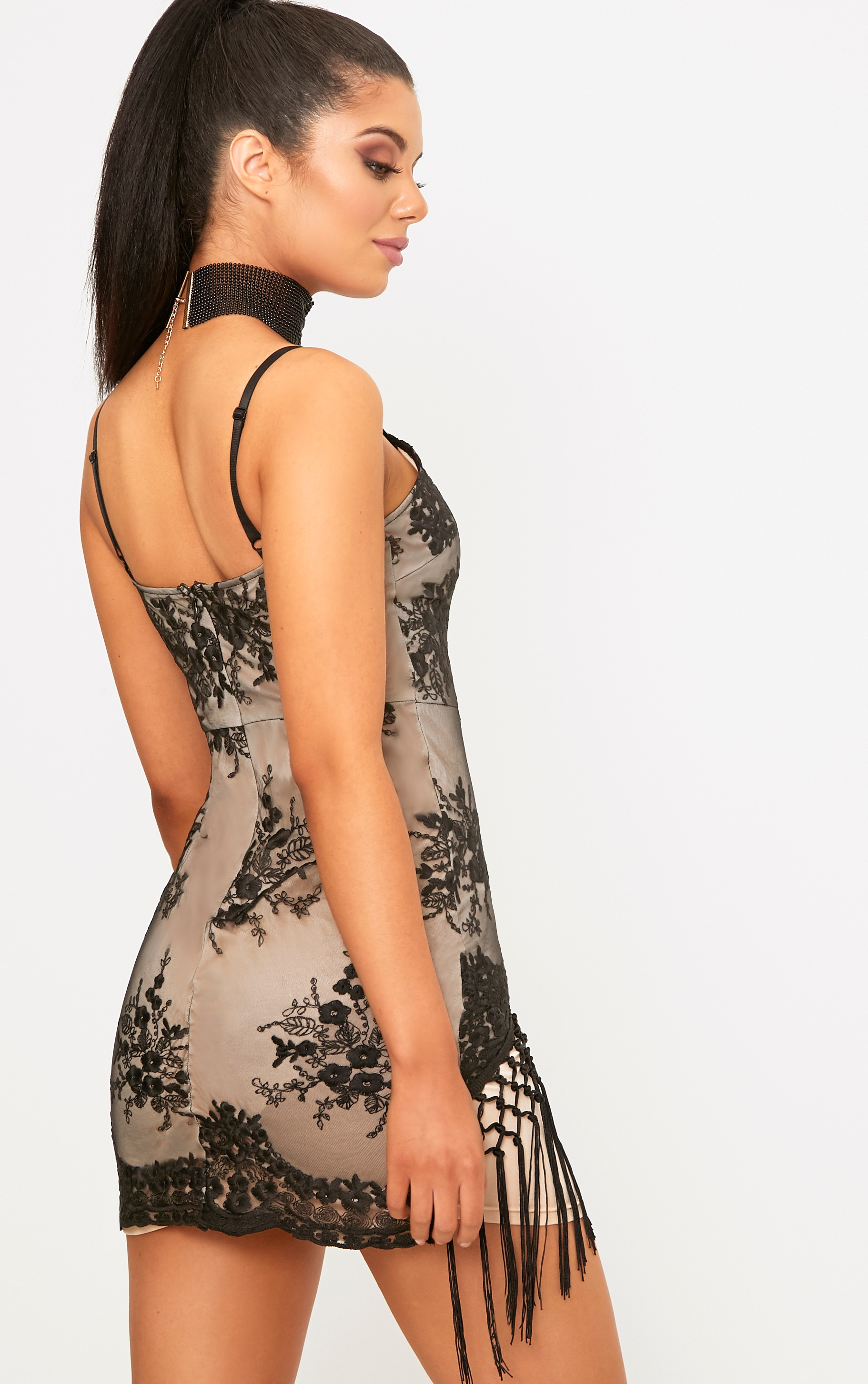Danni Black Lace Tassel Trim Bodycon Dress  2