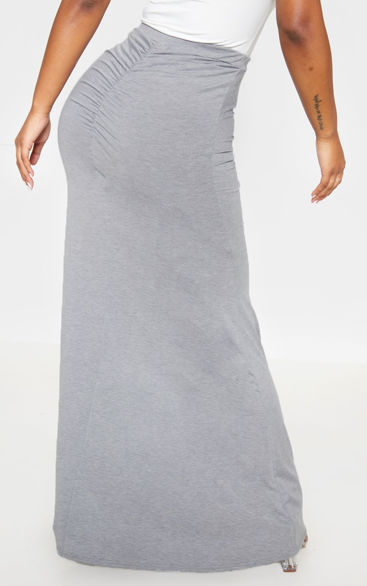 Grey Ruched Detail Maxi Skirt  4