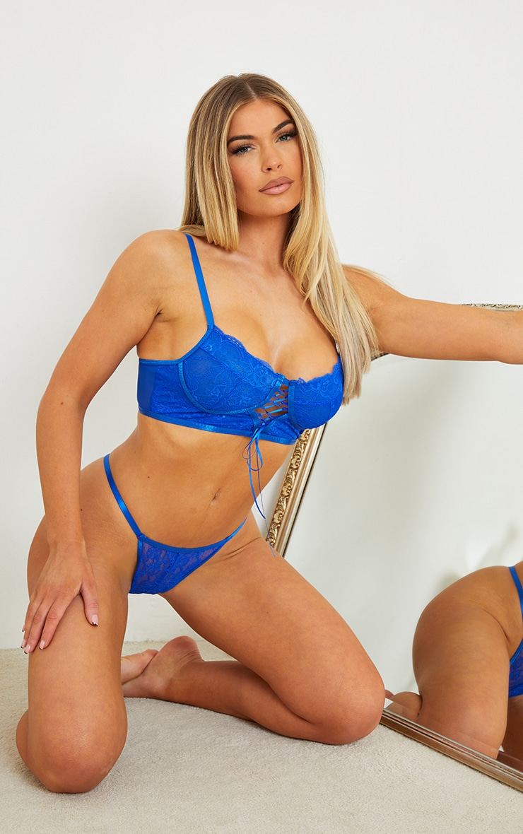 Cobalt Lace Up Front Longline Lingerie Set 1