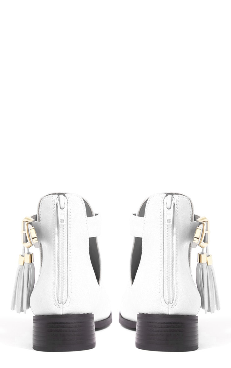 Chiara White Cut Out Ankle Boots 2