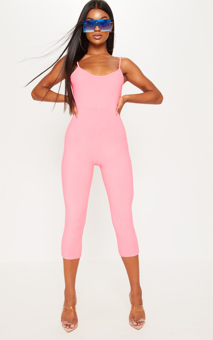 Neon Pink Strappy Unitard