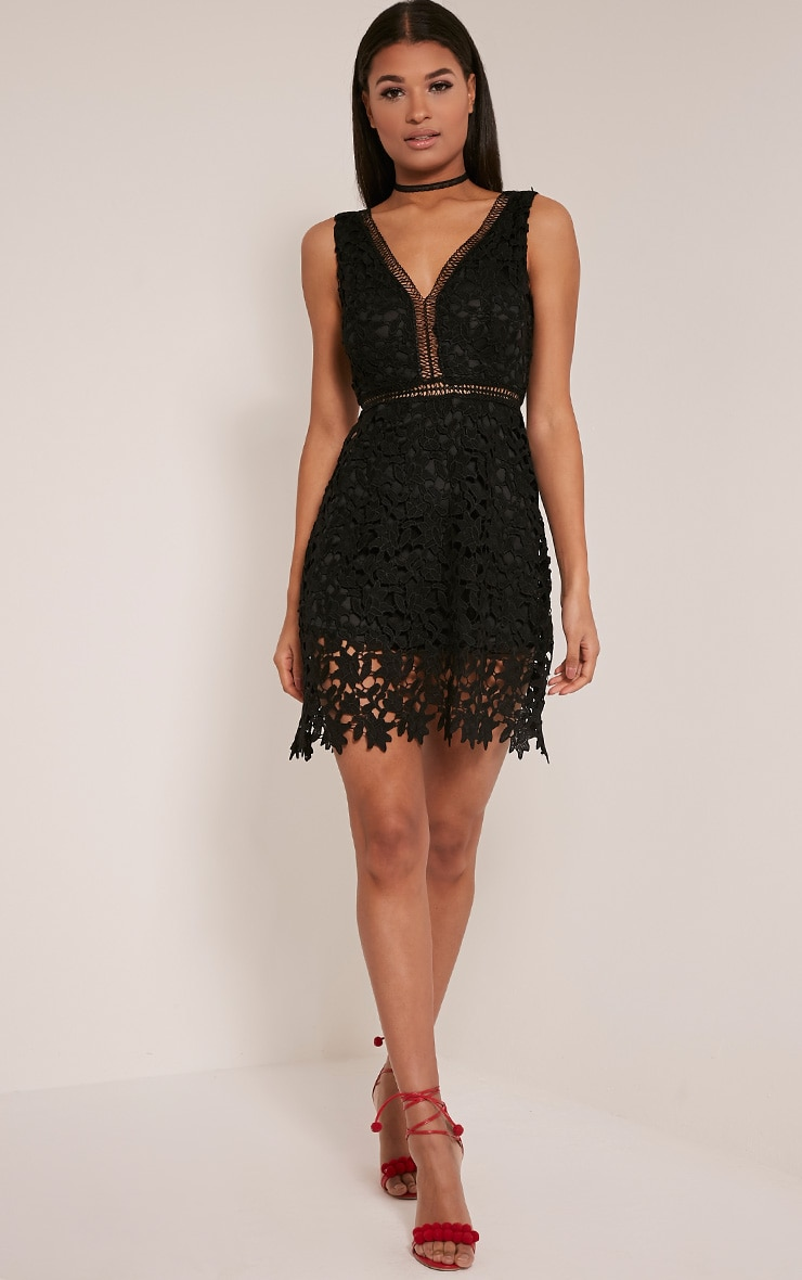 Tori Black Lace Scallop Hem Crochet Skater Dress