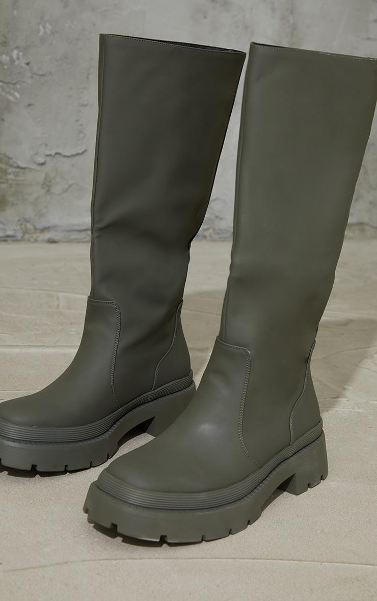 Khaki Knee High Rubberised Boots image 4
