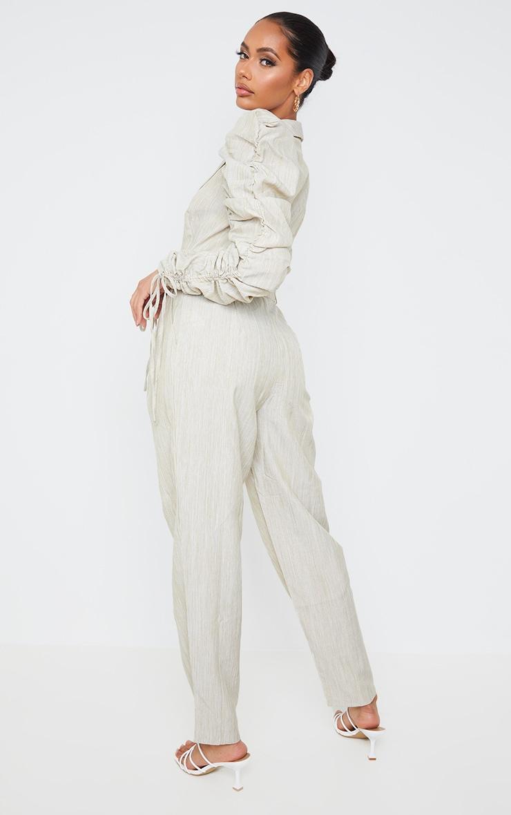 Beige Ruched Sleeve Blazer Jumpsuit 2
