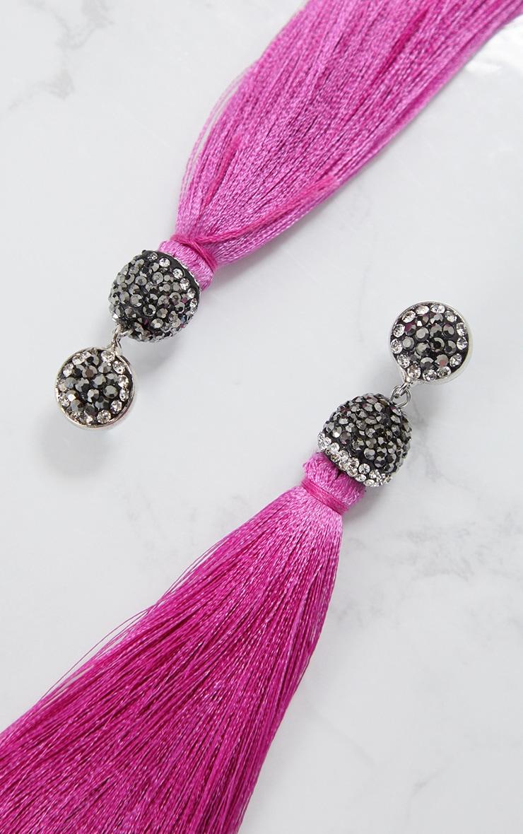 Pink Long Tassel Earring 4