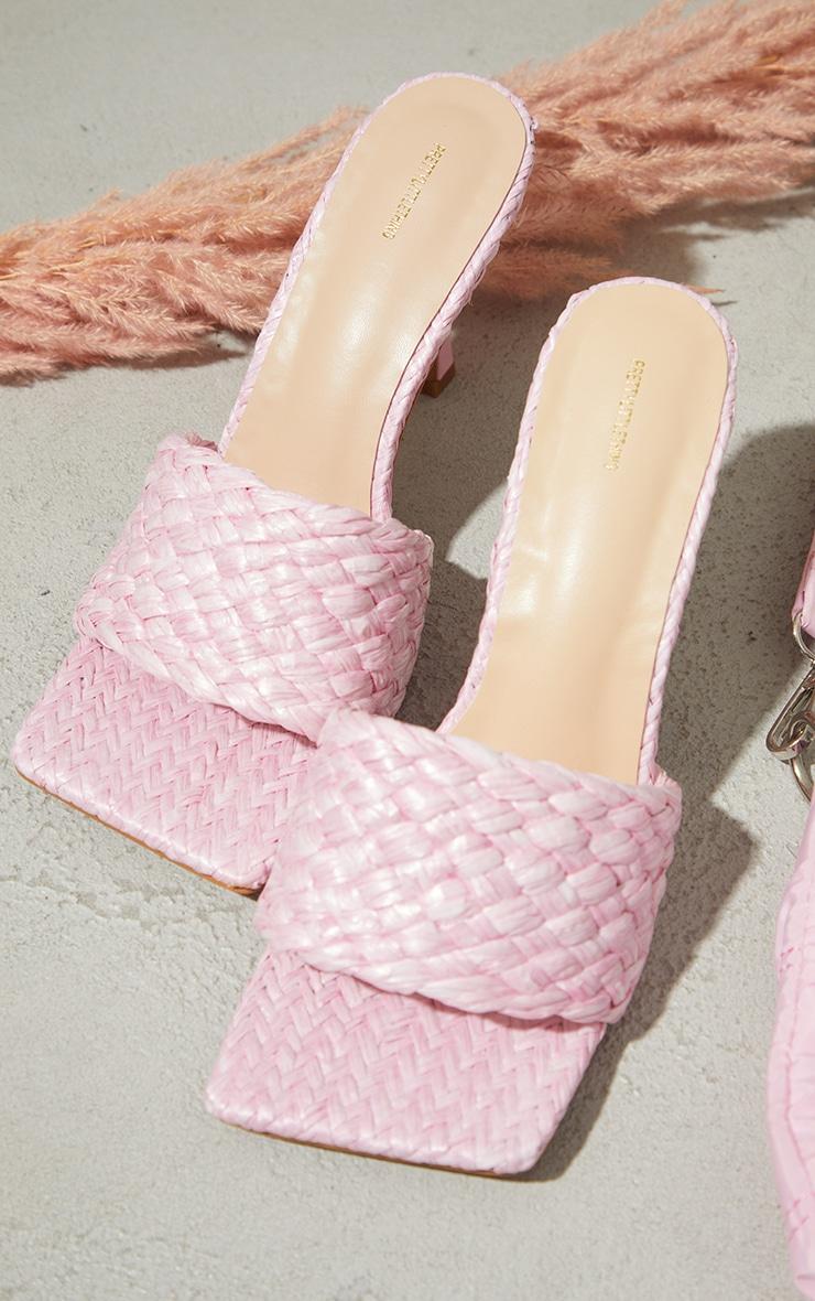 Pink Raffia Heeled Mules 3