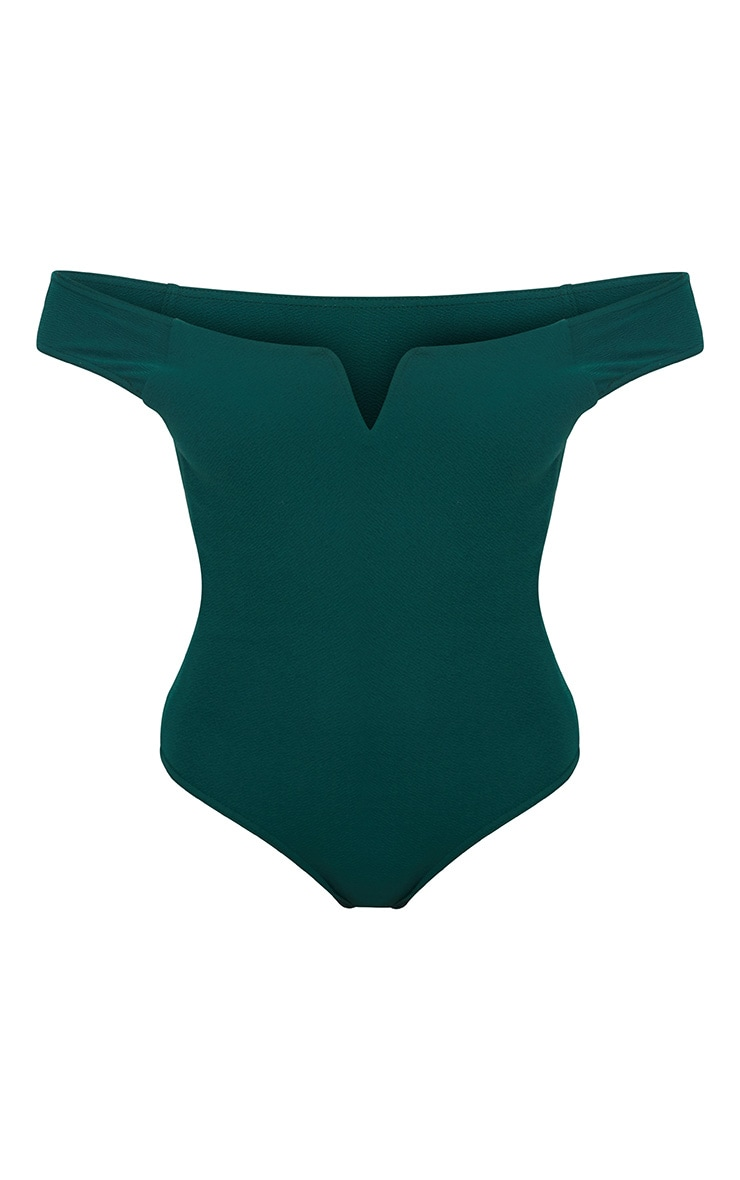 Emerald Green Bardot V Bar Crepe Thong Bodysuit 3