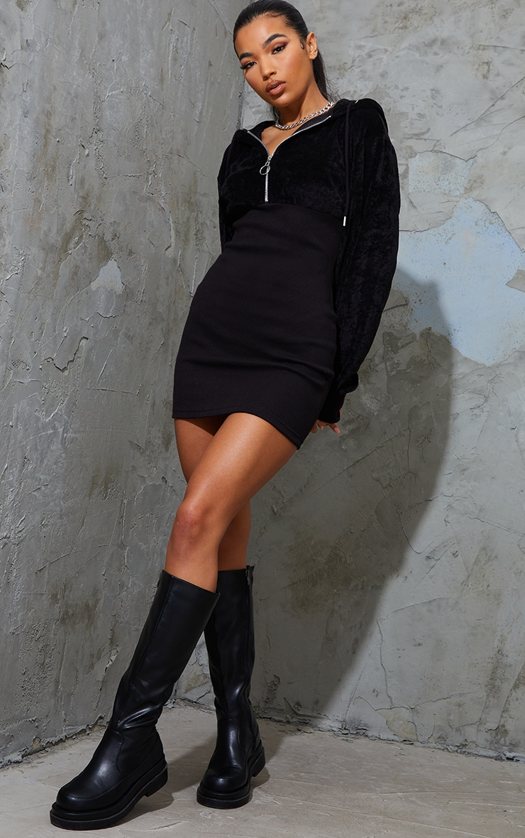 Black Velour Contrast Rib Hooded Jumper Dress 3