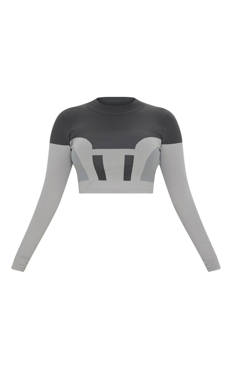 Grey Seamless Knit Panelled Longsleeve Gym Top 3