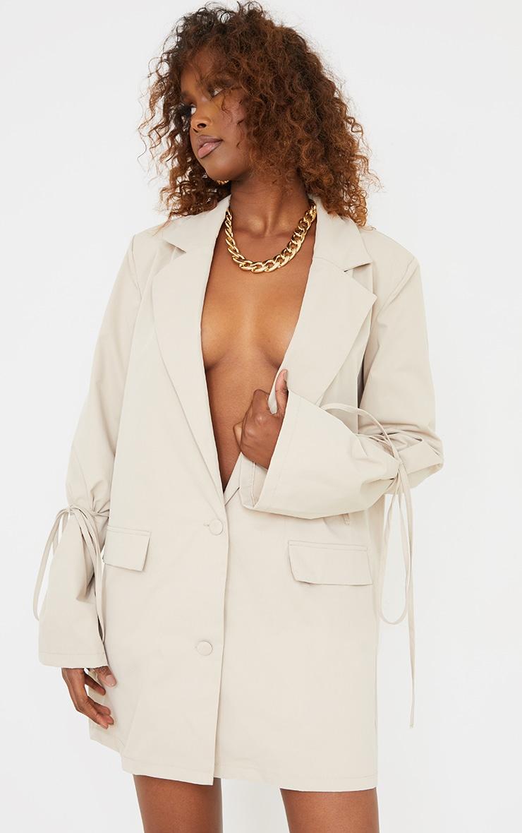 Stone Tie Cuff Pocket Detail Blazer Dress 3