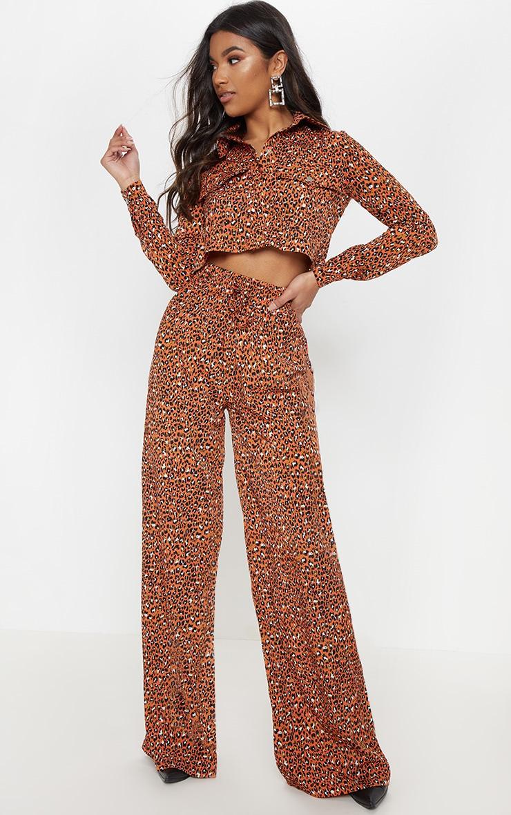 Orange Leopard Print Drawstring Wide Leg Trousers 1