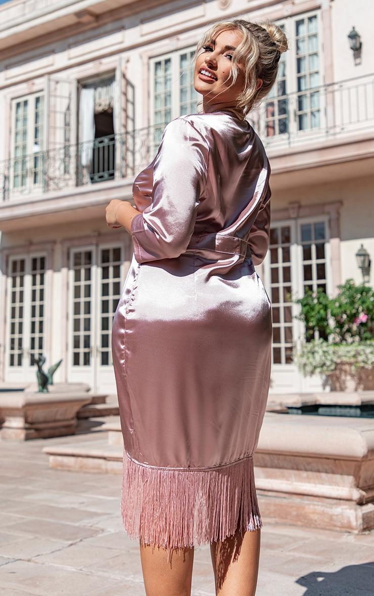 Plus Dusty Pink Satin Wrap Tassel Hem Midi Dress 2