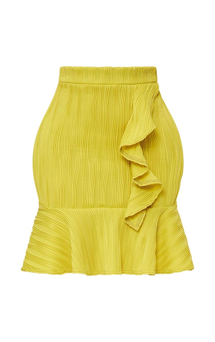 Shape Caterina Chartreuse Frill Detail Mini Skirt 3
