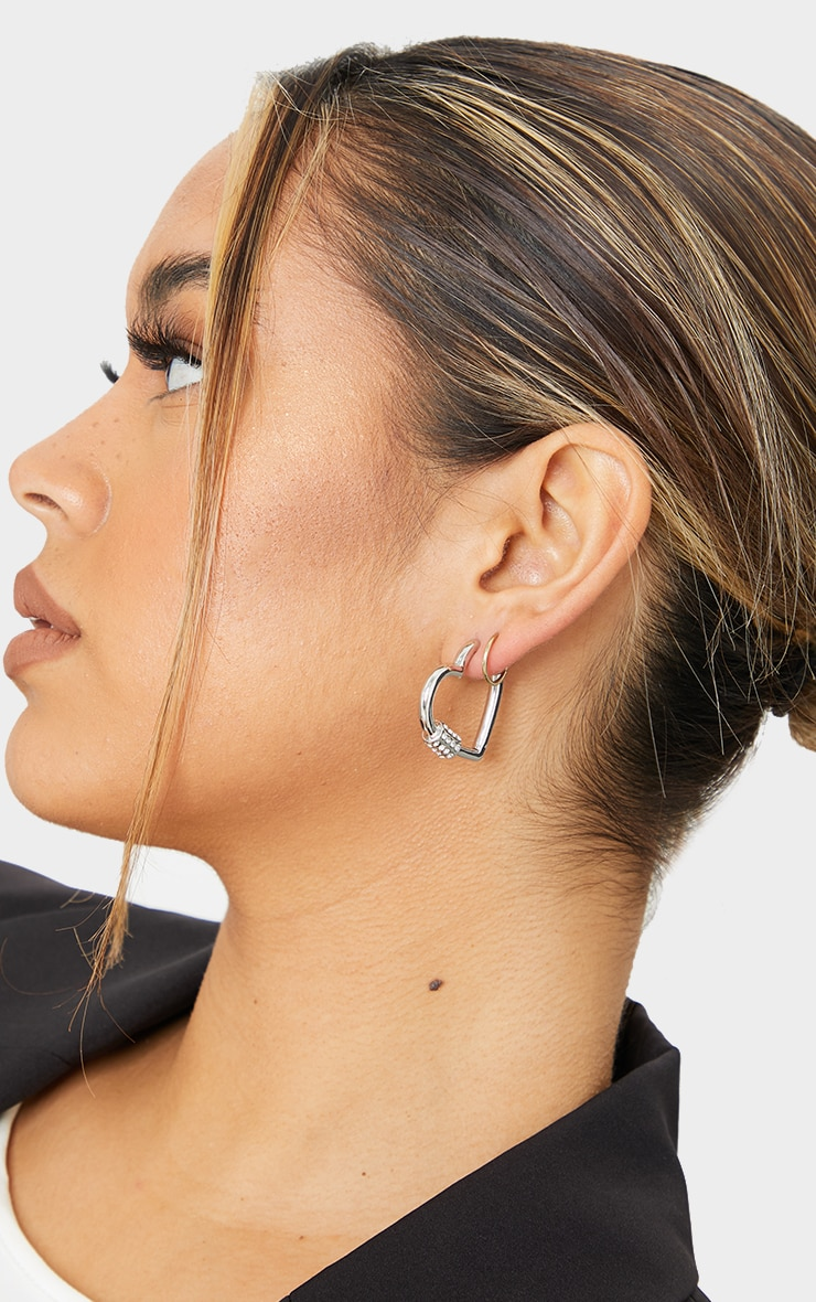 Silver Heart Diamante Clasp Hoop Earrings 1