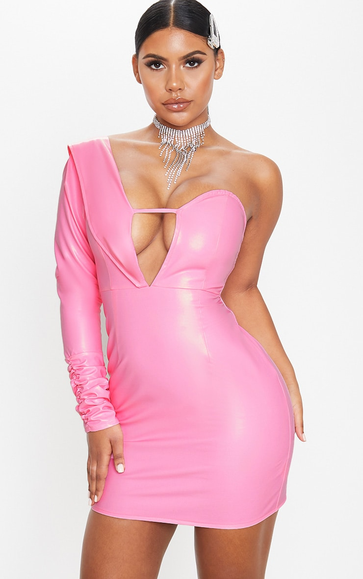 Pink Faux Leather Asymmetric Bodycon Dress 1