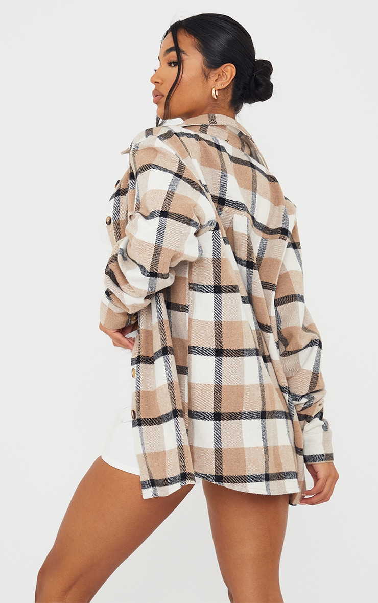 Brown Checked Pocket Front Oversized Shacket 2