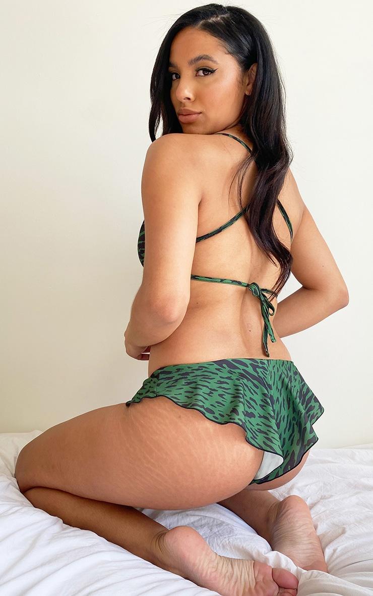 Green Leopard Slash Neck Cropped Bikini Top 2