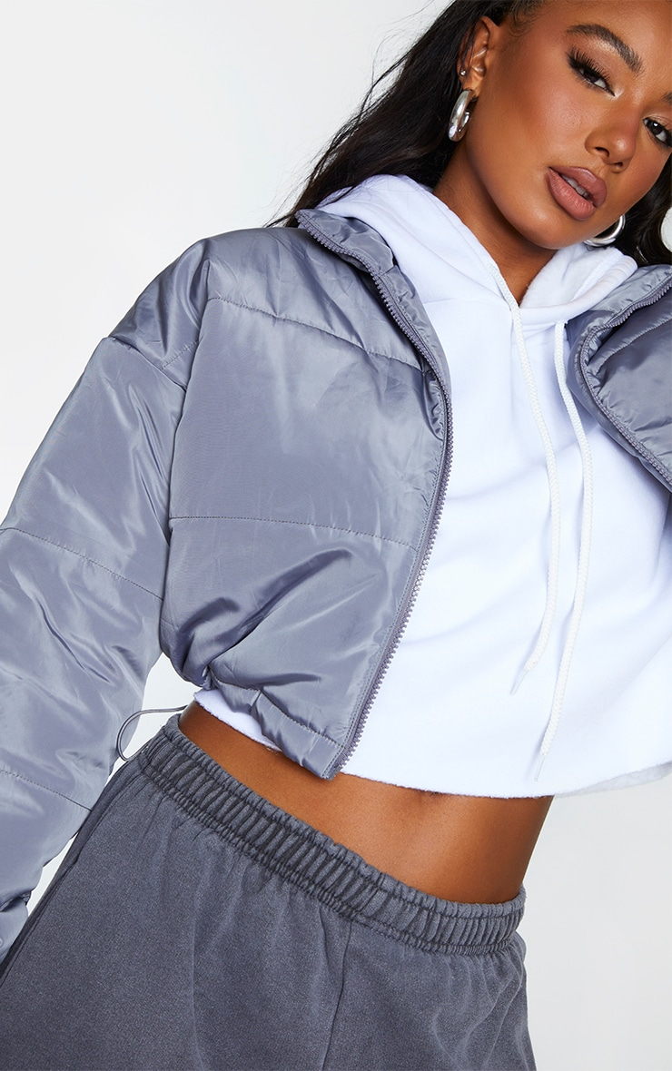Grey Nylon Super Cropped Toggle Hem Puffer Jacket 4