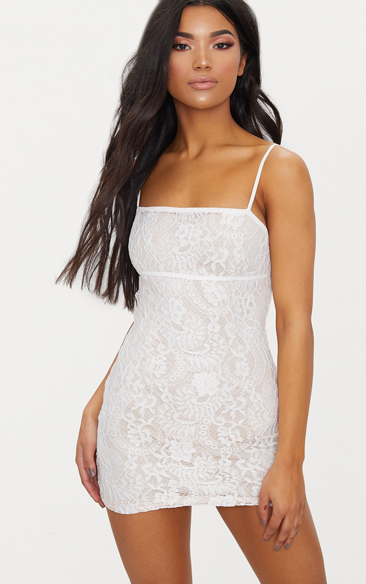White Lace Bodycon Dress With Nude Lining 1