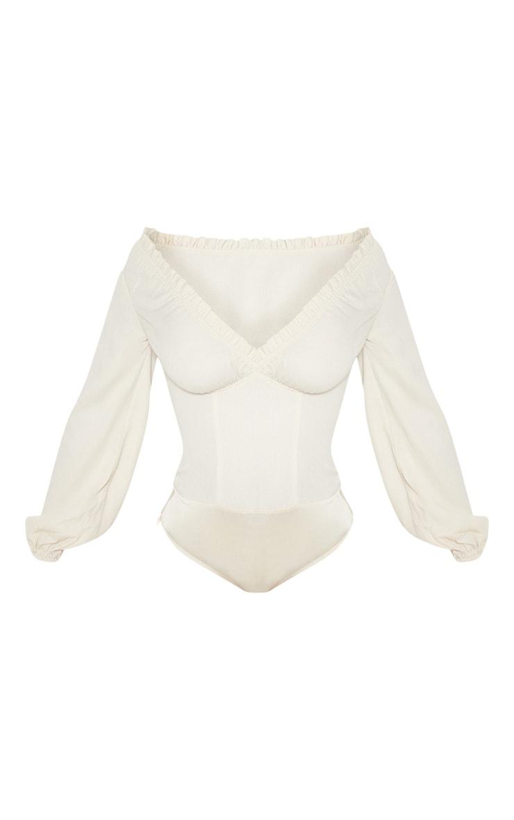 Cream Milkmaid Frill Cup Bodysuit 3