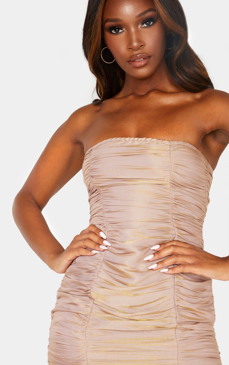 Dusty Pink Iridescent Ruched Bandeau Bodycon Dress 5