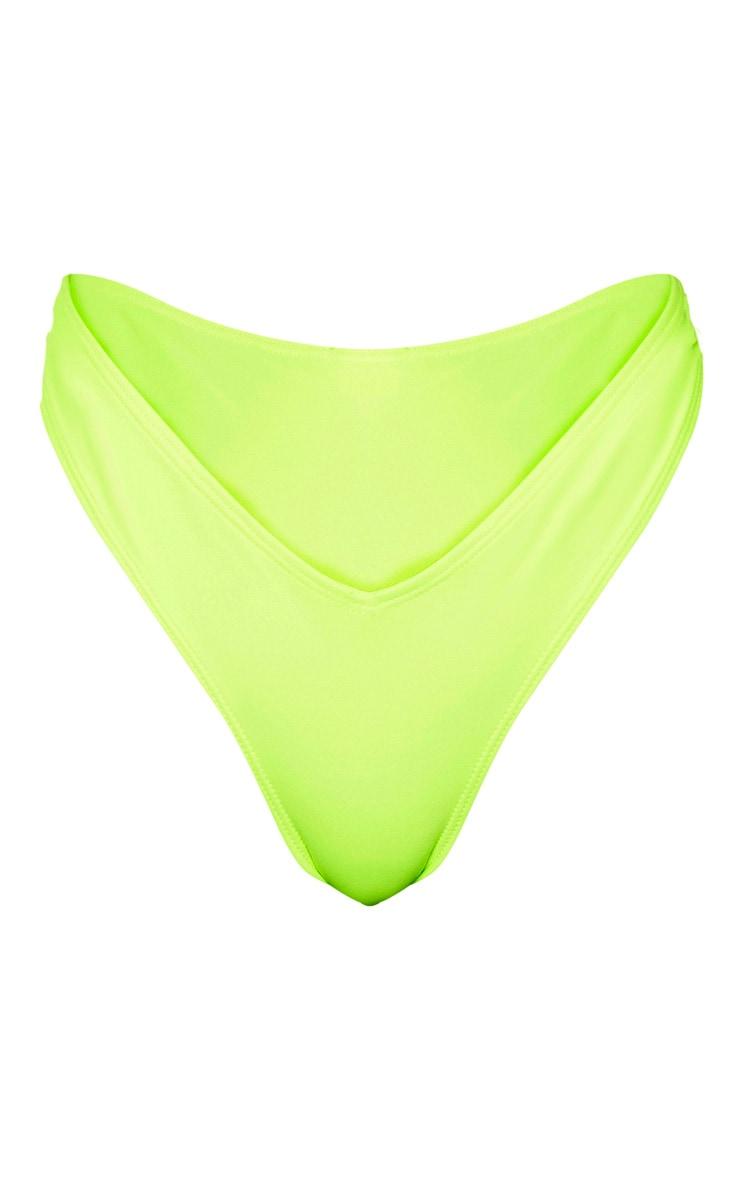 Neon Yellow Deep Side V Bikini Bottom 6