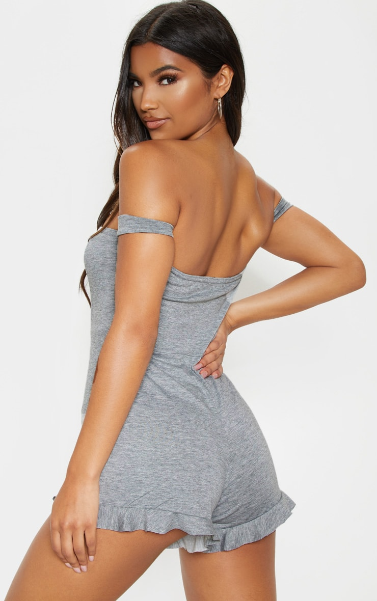 Grey Basic Bardot Frill Hem Playsuit 2