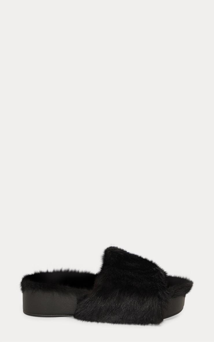 Black Faux Fur Flatform Slider 3
