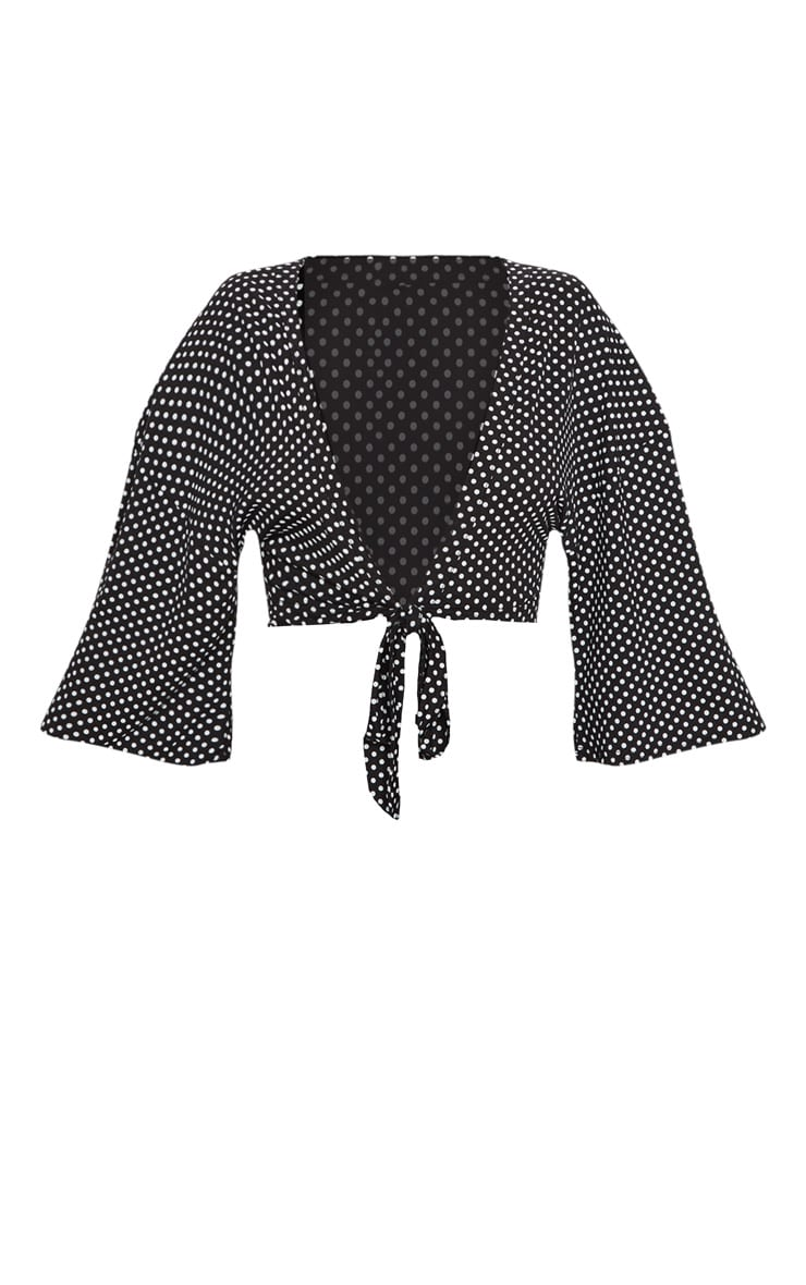 Petite Black Polka Dot Tie Front Top 3