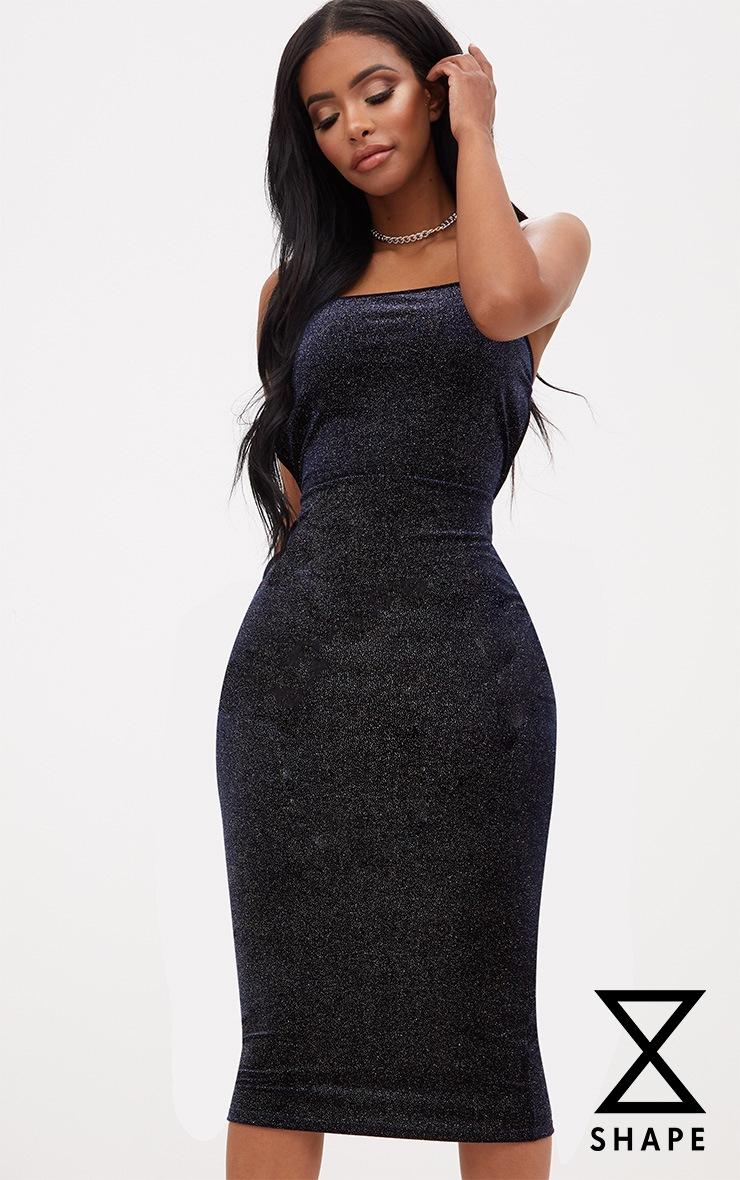 Shape Navy Sparkle Velvet Low Back Dress 2