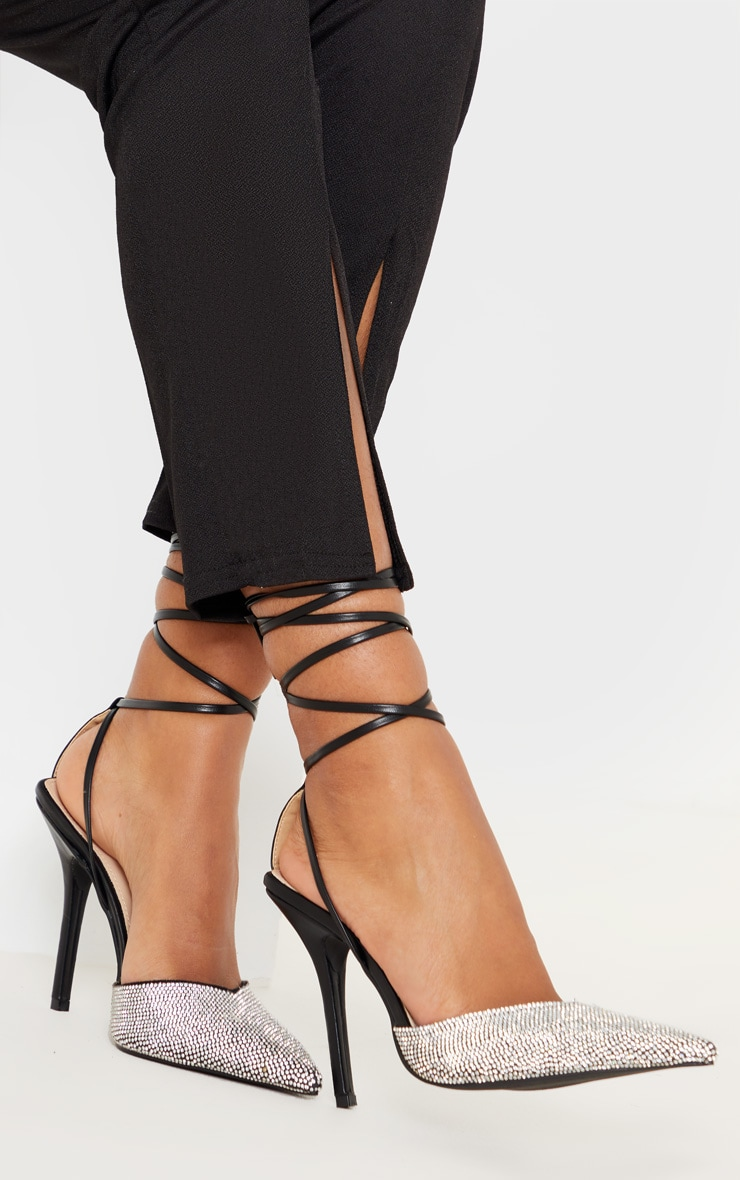 Black Diamante Toe Ankle Tie Court Shoe 1