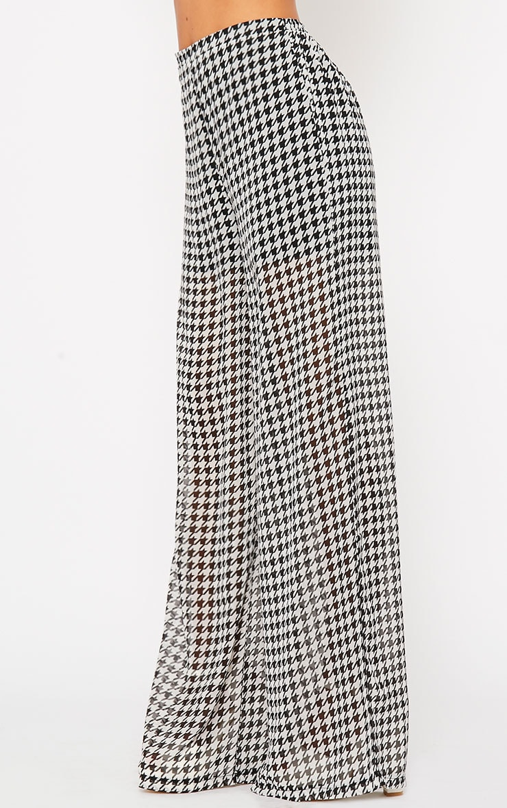 Paola Monochrome Dogtooth Sheer Palazzo Trousers 3
