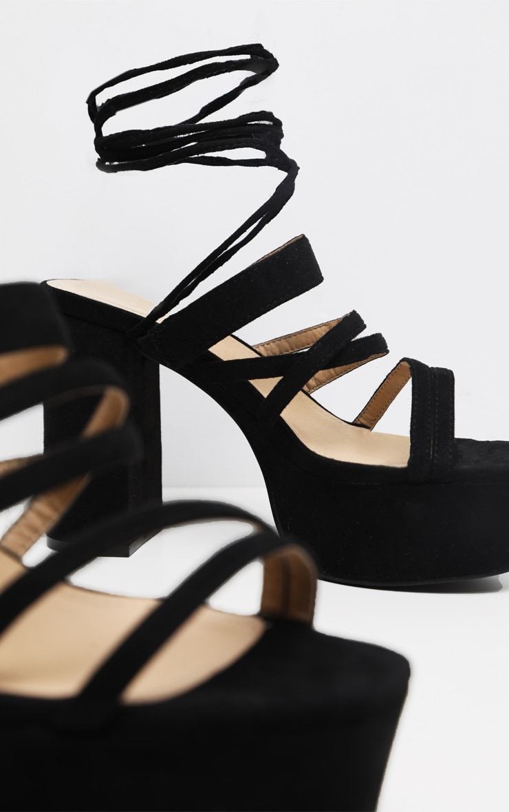 Black Platform Strappy Lace up Block Heel Sandal 4