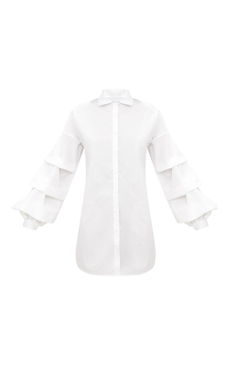 White Ruffle Sleeve Shirt Dress 3