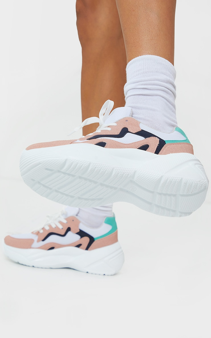 Pink Pu Patterned Chunky Sole Contrast Sneakers 1