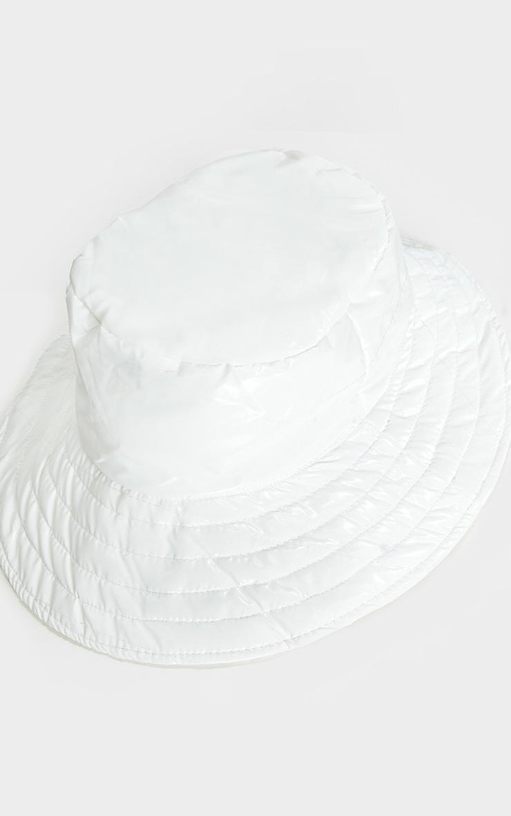 White Padded Bucket Hat 3
