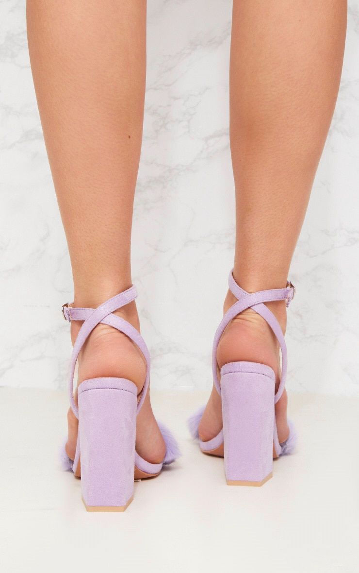 Lilac Fur Strappy Block Heel Sandal Shoes