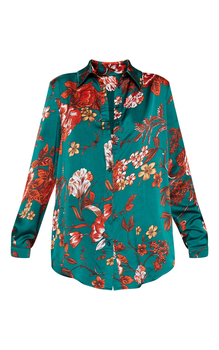 Emerald Green Floral Printed Oversized Shirt 3