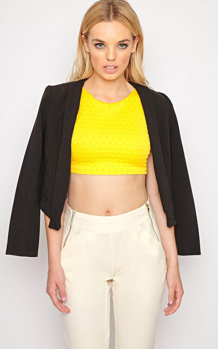 Halle Yellow Textured Polka Dot Crop Top 4