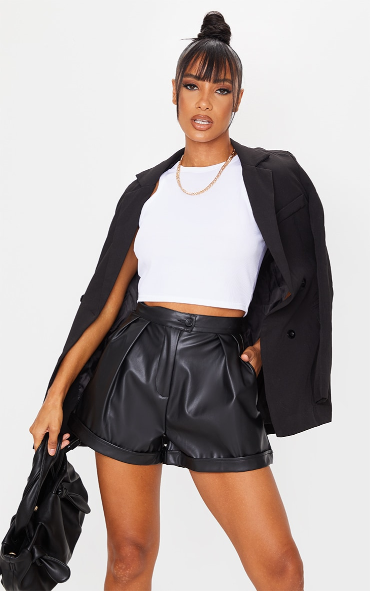 Black Faux Leather Pleat Detail Shorts 1