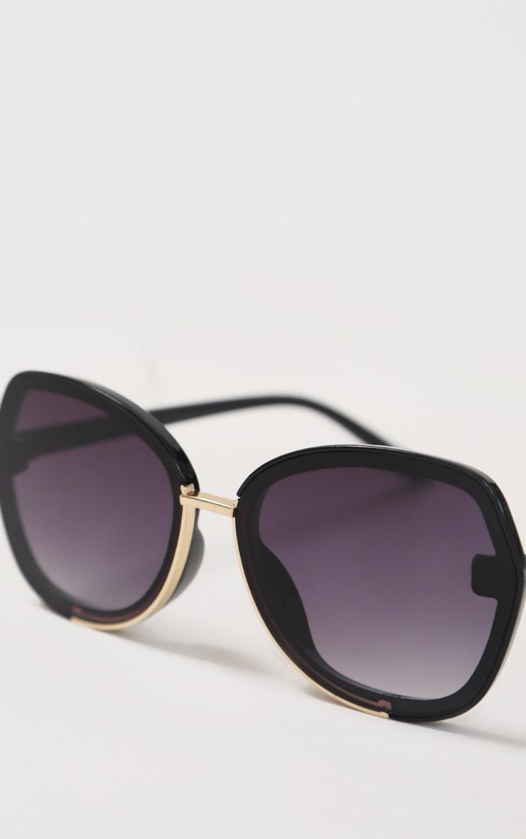 Black Fade Oversized Round Sunglasses 2